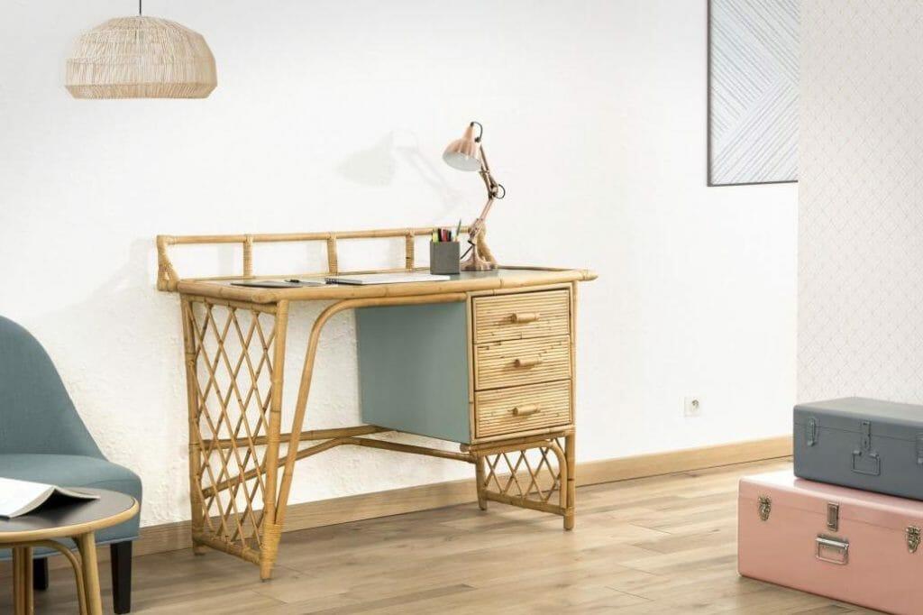 bureau en rotin, bureau ikea, bureau naturel