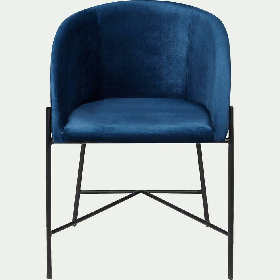 siège bleu, siège bleu en velours