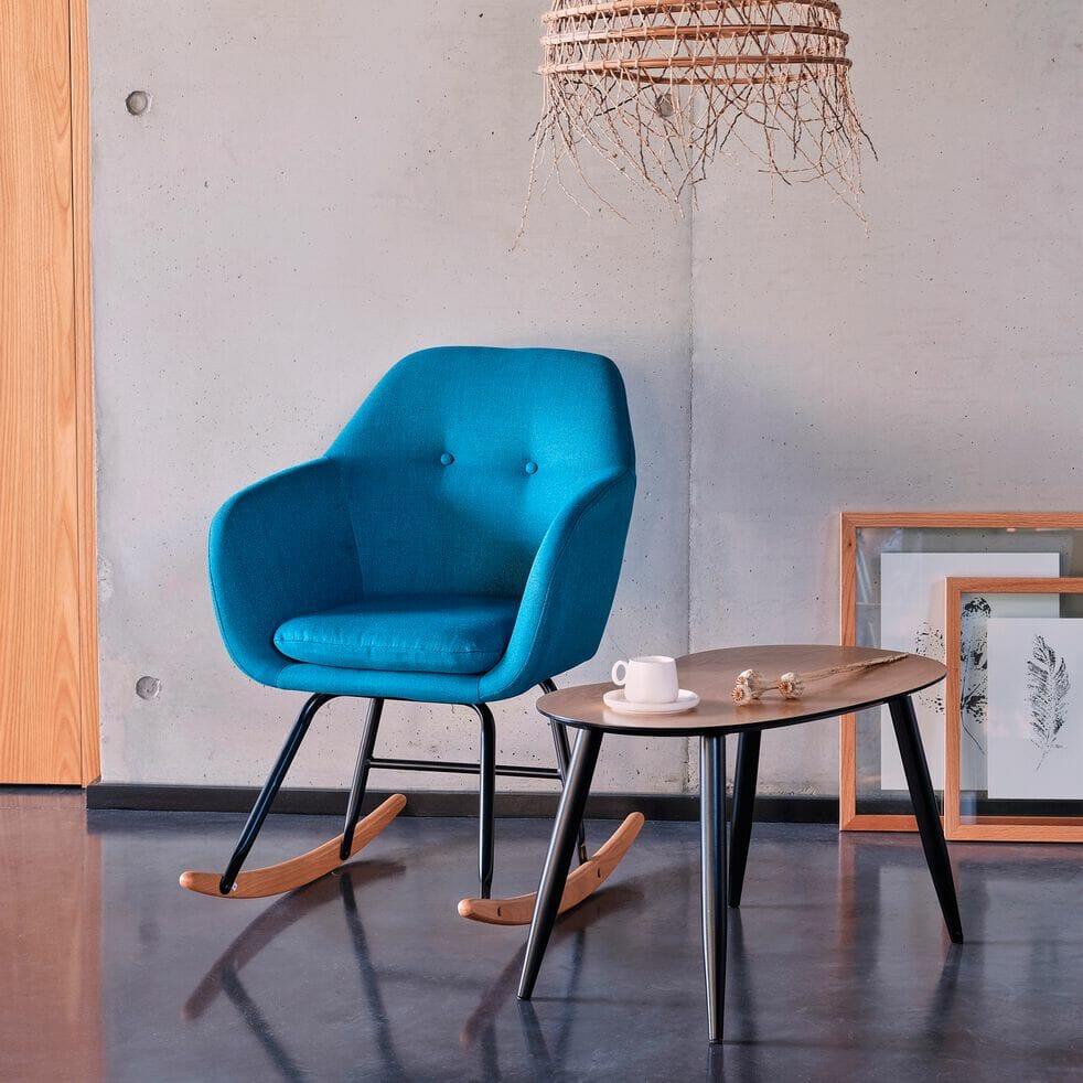 fauteuil à bascule, chaise a bascule, fauteuil bleu