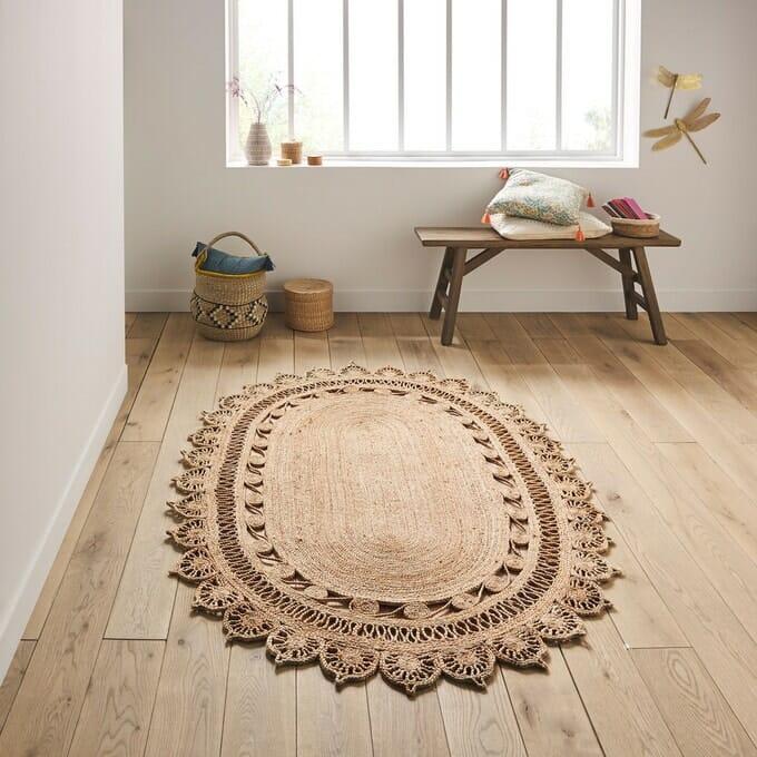 tapis ovale, tapis en jute, tapis bohème