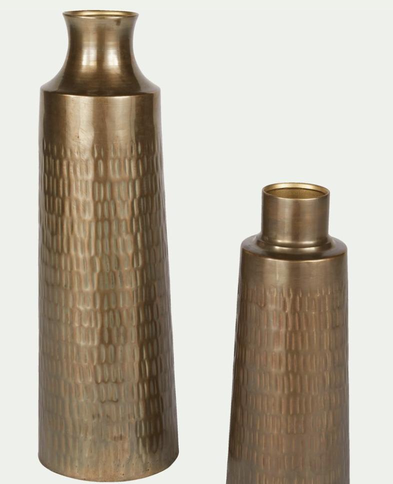 Vase en laiton, vase doré, vase haut