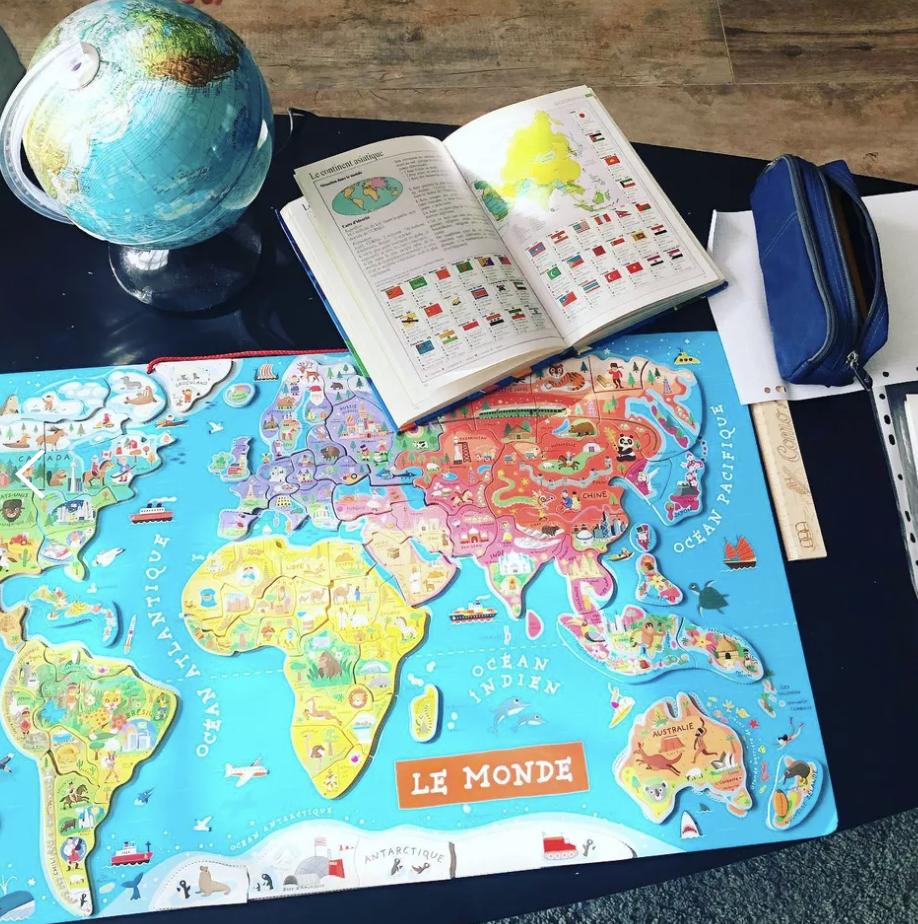 carte du monde, carte magnétique, jeu pour enfants