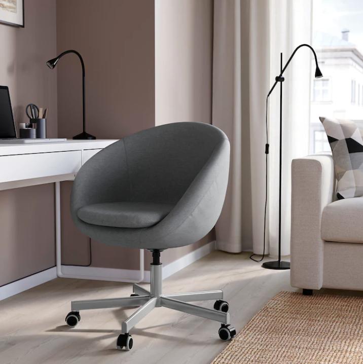 chaise de bureau arrondie, chaise de bureau grise