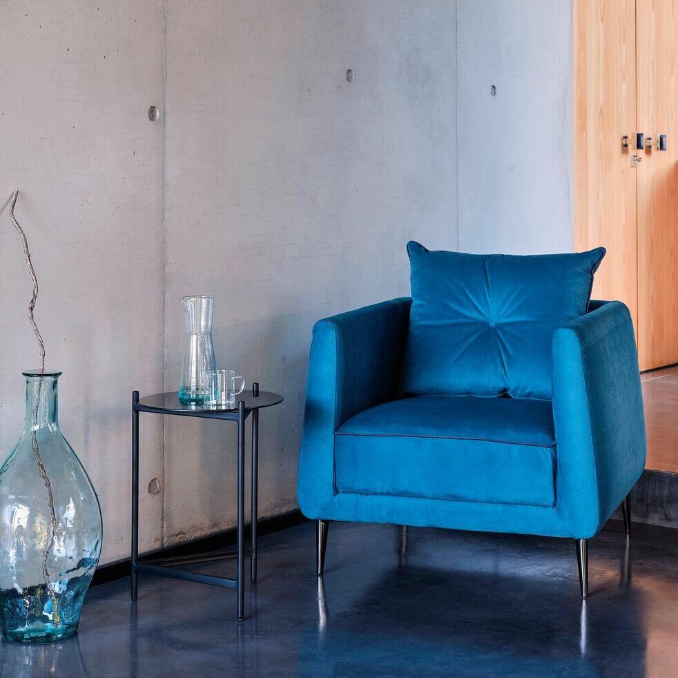 Fauteuil en tissu, fauteuil bleu canard