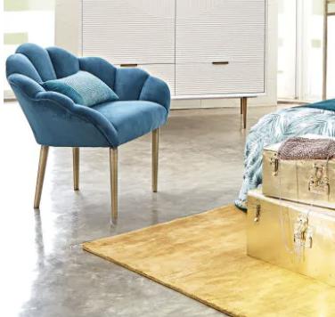 fauteuil coquillage, fauteuil bleu, fauteuil velours