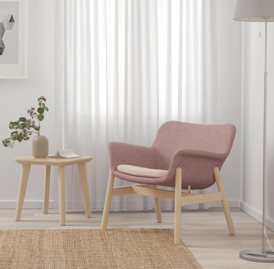 fauteuil rose, fauteuil rose clair, fauteuil ikea