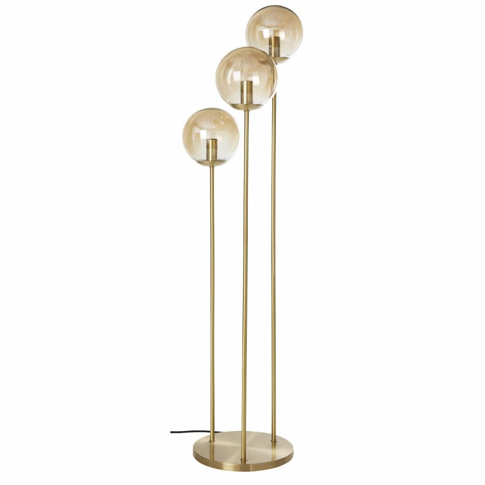 lampadaire 3 gloes, lampadaire doré, lampe hallogène