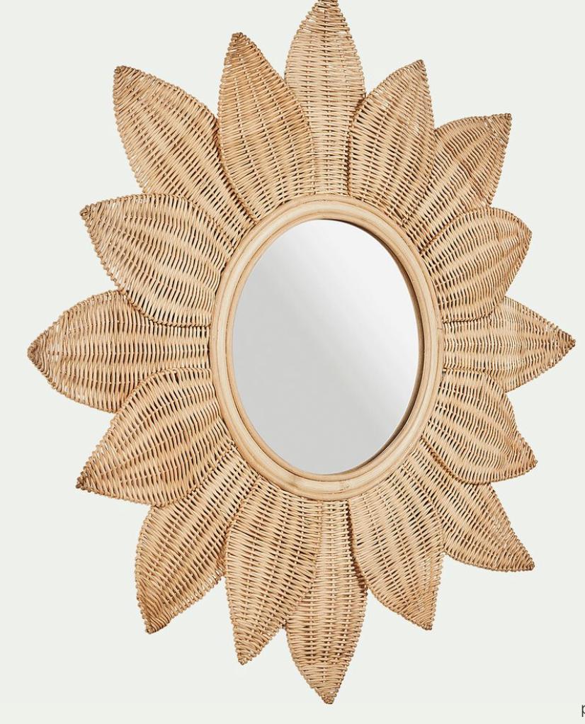 miroir alinéa, miroir fleur, miroir rotin